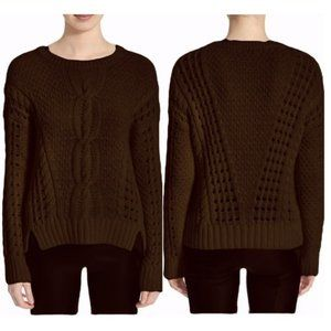 VINCE Yak Wool Cable Open Chunky Knit Sweater